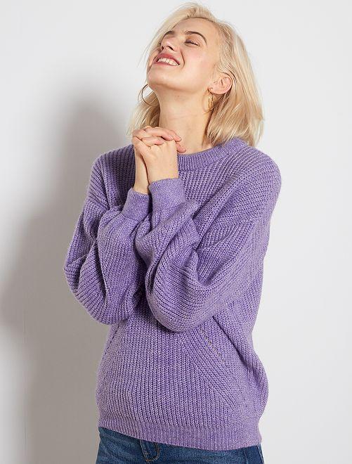 Pull avec détails ajourés                                         violet
