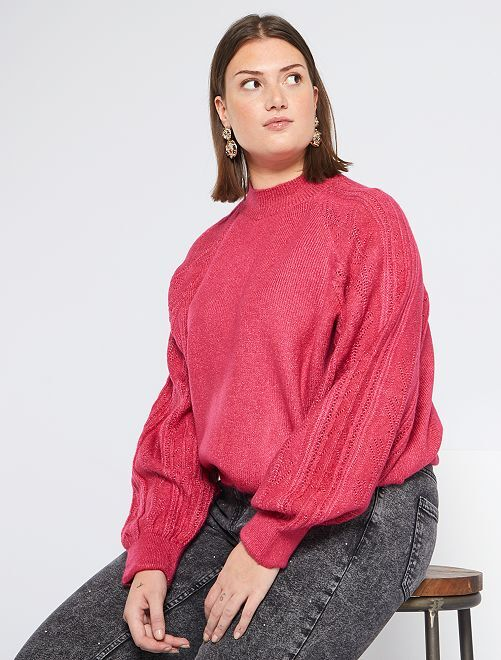 Pull avec manches tricot                                         rose