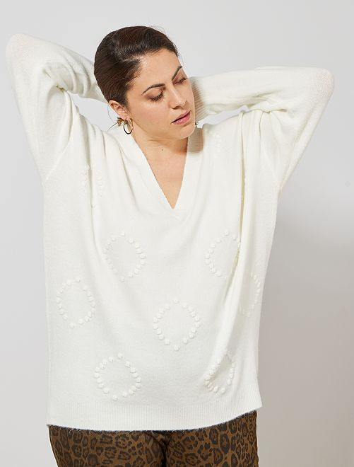 Pull avec relief                                         blanc Grande taille femme