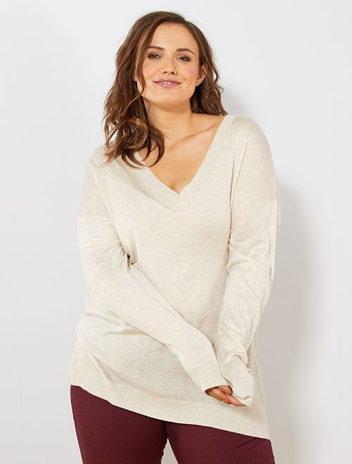 Pull basique fine maille                                                                 BEIGE