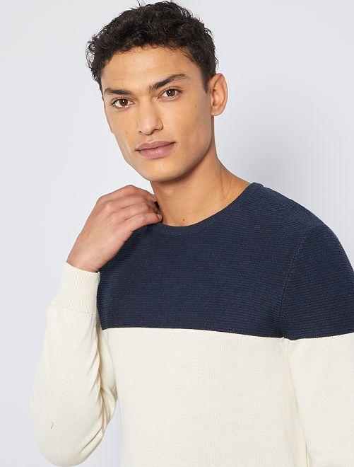 Pull bicolore éco-conçu                                                     bleu marine/écru