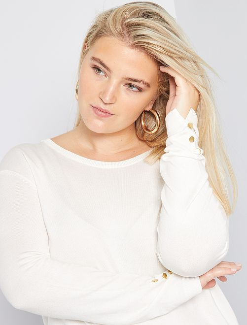 Pull boutons fantaisie                                         blanc
