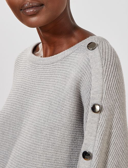 Pull boutons manche                                                                 gris Femme
