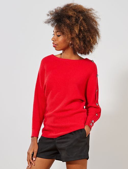 Pull boutons manche                                                                 rouge Femme