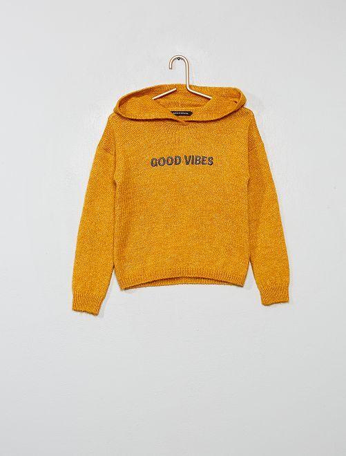 Pull brodé à capuche                                         jaune