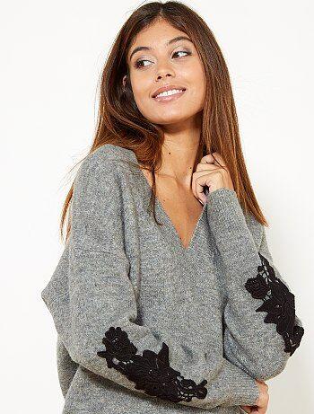 Femme du 34 au 48 - Pull brodé avec laine - Kiabi