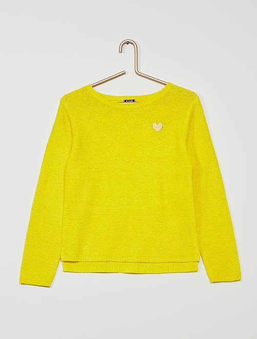 Pull brodé en maille ruban                                         jaune