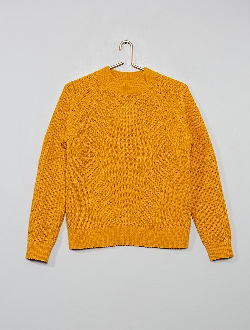 Pull chenille col montant                                 jaune moutarde