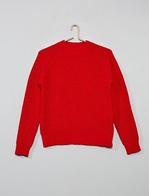 Pull chenille col montant                                                                                         rouge