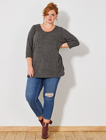 Grande taille femme - Pull chiné manches 3/4 - Kiabi