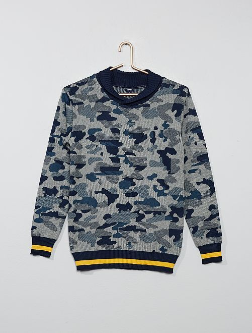 Pull col châle camouflage                                         bleu
