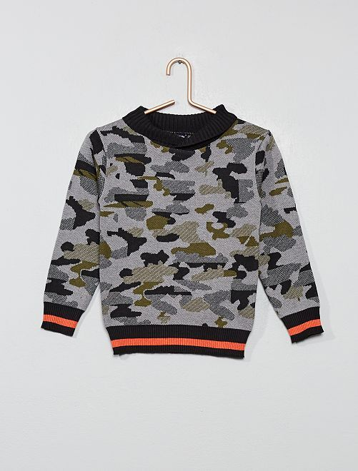 Pull col châle camouflage                                         kaki