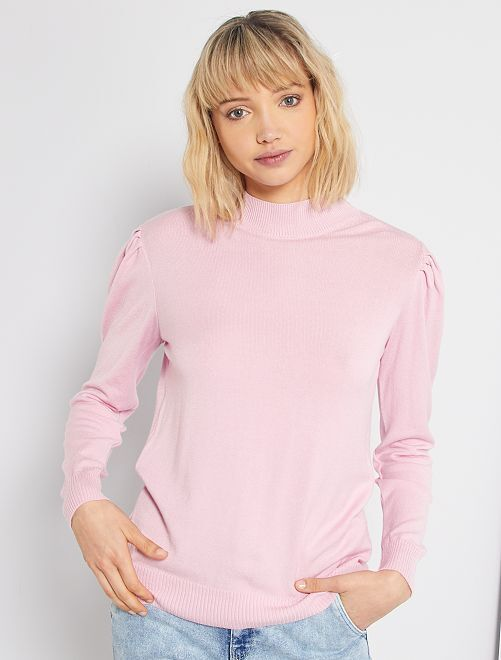 Pull col cheminée et manches gigot                                                                 rose