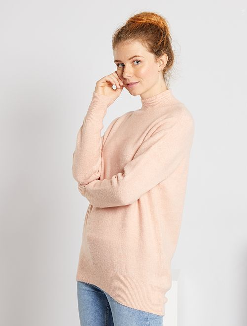 Pull col cheminée                                                                                                                 rose