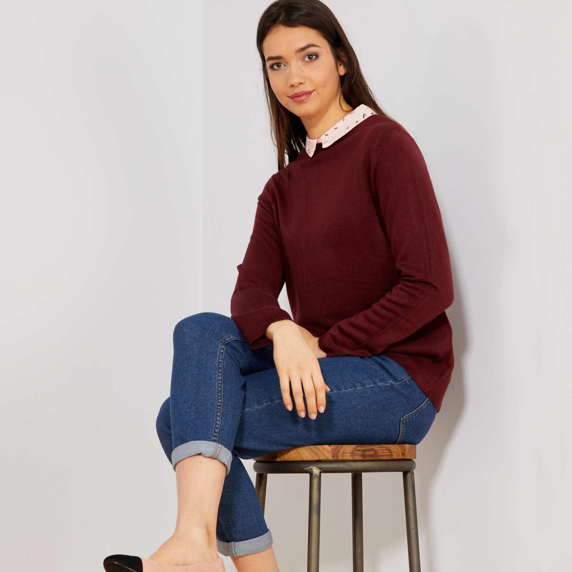 d8add5c0325 Pull col chemise Femme - bordeaux - Kiabi - 12