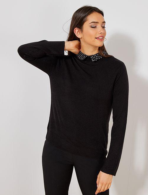 Pull col chemise                                         noir Femme