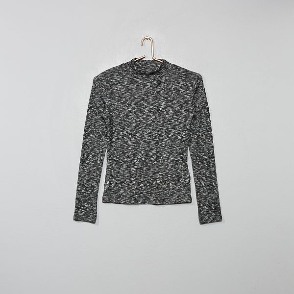 pull fille gris col roule kiabi