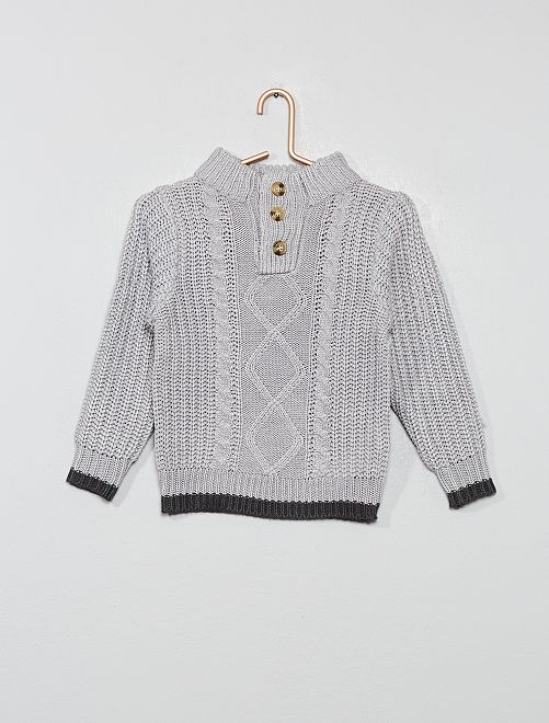 Pull col montant                                                                 gris clair