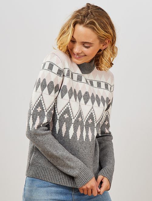 Pull col montant motifs jacquards                                         rose