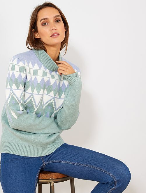 Pull col montant motifs jacquards                                         vert