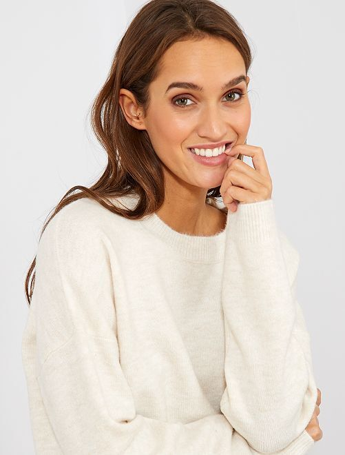 Pull col rond basique                                                                                         beige