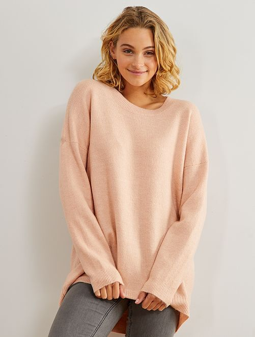 Pull col rond basique                                                                                         rose