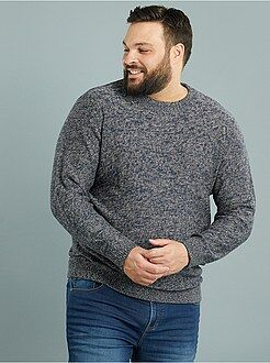 Grande taille homme Pull col rond en maille moulinée