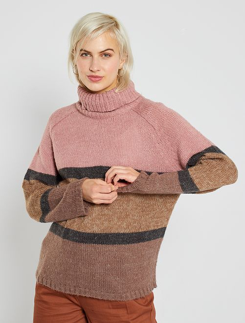 Pull col roulé colorblock 'JDY'                                         rose