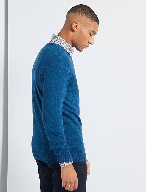 Pull col V éco-conçu                                                                                                                 bleu canard chiné