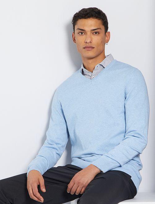 Pull col V éco-conçu                                                                                                                                                                 bleu clair