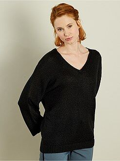 Pull taille xl - Pull col V en maille bouclette - Kiabi