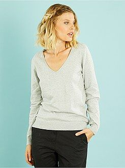 Pull gris - Pull col V fine maille