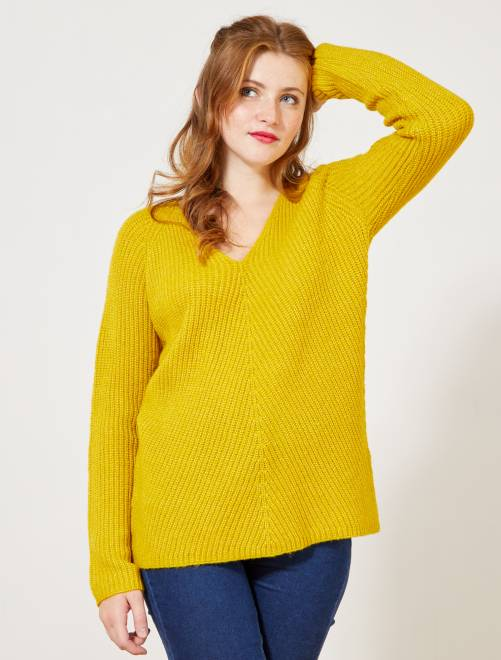 Pull col V maille perlée                                 jaune Femme