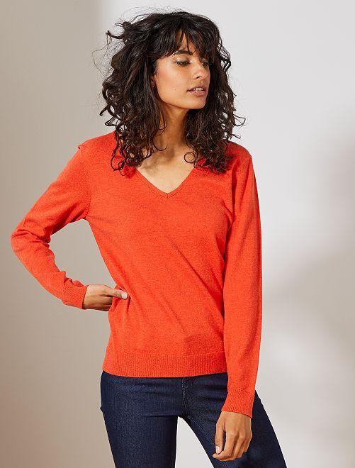 Pull col V                                                                             orange Femme