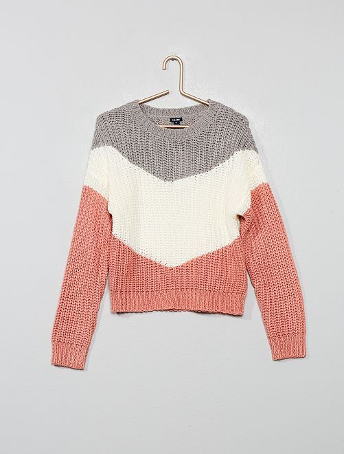 Pull color block                                         gris/blanc/rose Fille