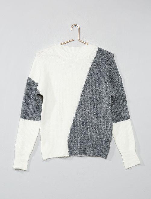 Pull color-block                                                     gris/écru Fille adolescente