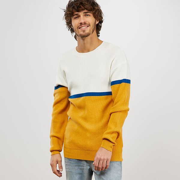 Pull color block Homme - JAUNE - Kiabi -