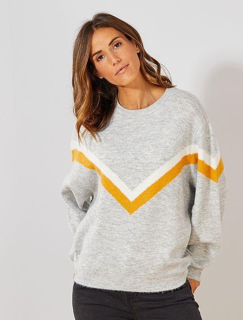 Pull color block oversize                             gris/jaune