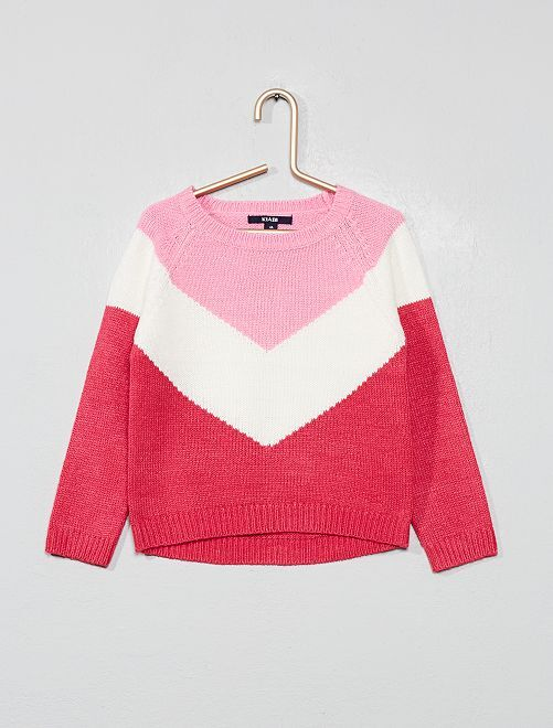 Pull color block                                         rose Fille