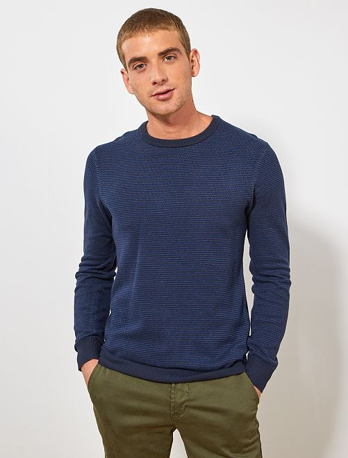 Pull coton bio 'éco conception'                                                     bleu clair/bleu marine