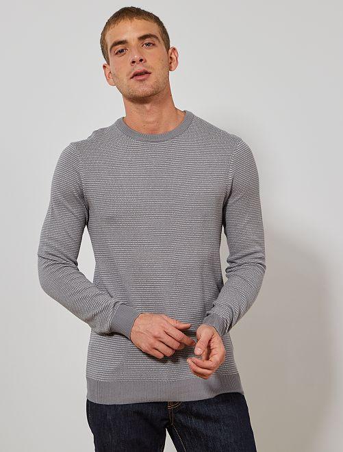 Pull coton bio 'éco conception'                                                     gris/blanc