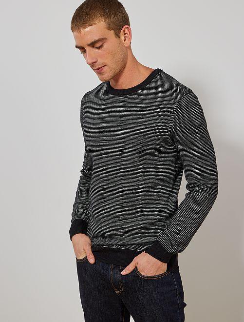 Pull coton bio 'éco conception'                                                     noir/blanc