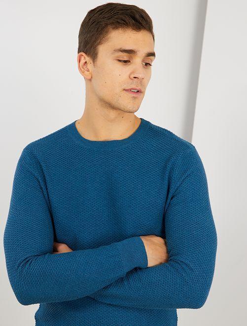 Pull coton 'éco-conception'                                                     bleu canard