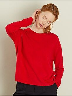 Pull rouge - Pull court en fine maille
