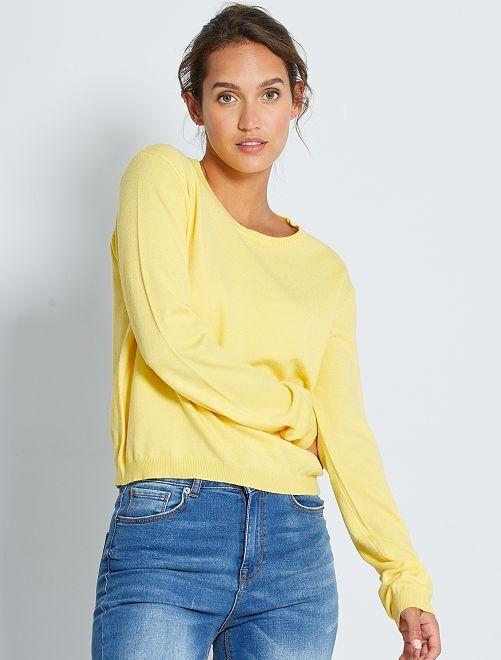 Pull court en maille fine unie                                                                                                                                                                                         jaune mimosa
