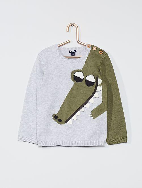 Pull 'crocodile' en maille fine                             gris/vert