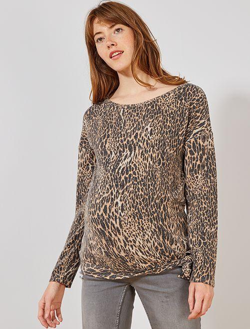 Pull de grossesse maille extra-douce                     beige léopard