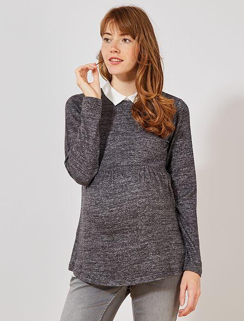 Pull de maternité col chemise                             gris chiné