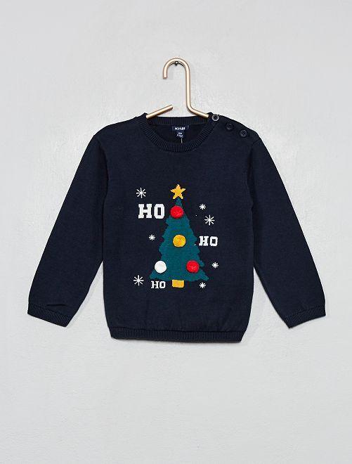 Pull de Noël avec pompons                             bleu