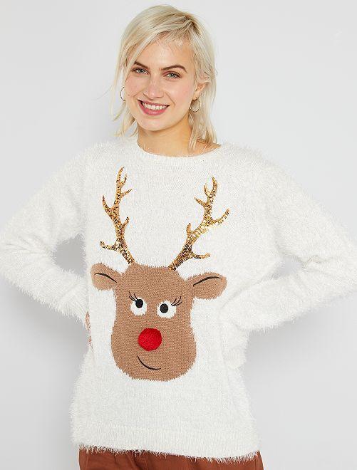Pull de Noël imprimé 'renne'                             blanc